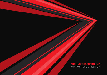 Abstract red speed arrow direction on black design modern futuristic background vector illustration. Fotomurales