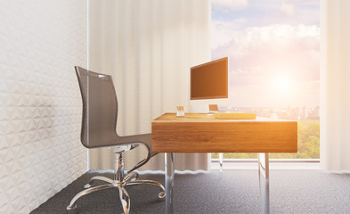 View of the workplace of the top manager of the company. Modern office with large panoramic windows. Glass partitions. 3D rendering. Sunset. mockup
