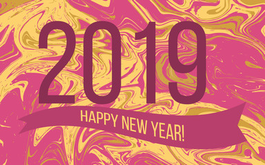 2019 Happy New Year holiday greeting card