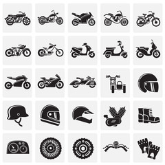 Motorcycle icons set on squares background for graphic and web design, Modern simple vector sign. Internet concept. Trendy symbol for website design web button or mobile app