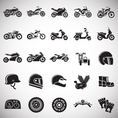 Motorcycle icons set on white background for graphic and web design, Modern simple vector sign. Internet concept. Trendy symbol for website design web button or mobile app