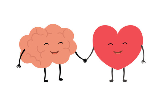 Brain and heart handshake. Vector concept illustration of teamwork between mind and feelings
