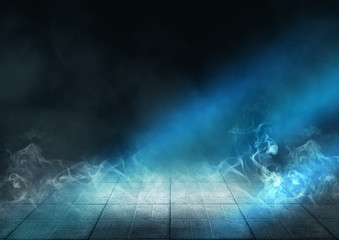 Background of empty stage, pavement tiles, night, spotlight, neon light, smoke