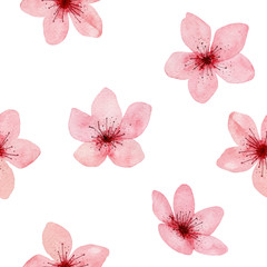 Seamless Pattern of hand drawn watercolor cherry blossom, delicate flowers. Japanese Sakura. Design for wedding invitation, fabric, packaging, textile, cover, postcard, paper, greeting cards, blog.