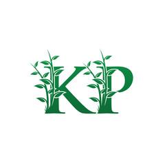 Green Leaf KP Letter Logo