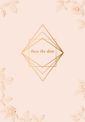 Pink frame with gold flowers (zinnia, camomile, sunflower. daisy). Elegant floral background for Save the date, Women`s day, Valentine`s day, Mother`s day card. Vector illustration.