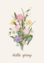 Spring bouquet of flowers. Floral background. Vector illustration.