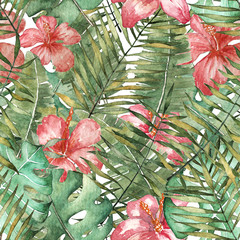 seamless tropical pattern in watercolor