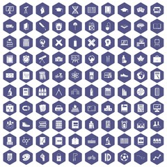100 school icons set in purple hexagon isolated vector illustration