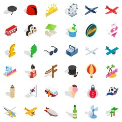 Sea travel icons set. Isometric style of 36 sea travel vector icons for web isolated on white background