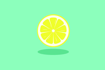 Yellow lemon slice isloated on blue background - Vector.