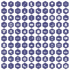 100 shoe icons set in purple hexagon isolated vector illustration