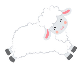 Cartoon vector smiling white sheep jumping on white background