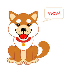 Funny little puppy. Educational game for children. Cartoon vector illustration