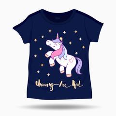 Little funny unicorn illustration on T Shirt kids template. Vector illustration