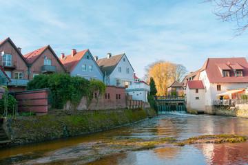 schönes wohnen am Wassergraben der Wassermühle in Gemen.