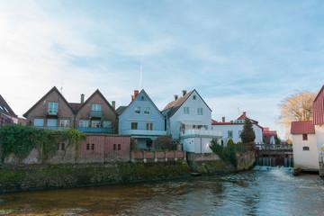 Häuserfront an der Wassermühle Gemen.