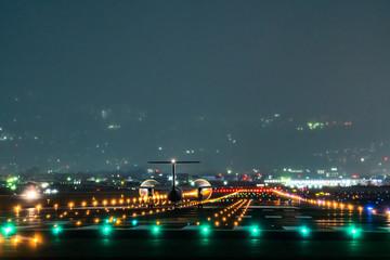 Propeller plane taking off scene in the night (夜のプロペラ航空機離陸シーン)