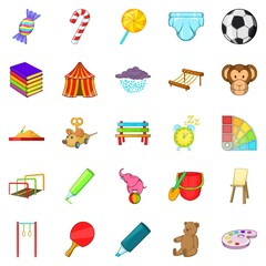 Schoolyard icons set. Cartoon set of 25 schoolyard vector icons for web isolated on white background