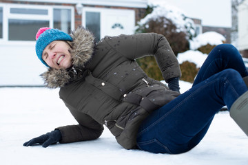 Woman In Pain Falling Over In Snowy On Slippery Street And Injuring Herself