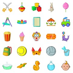 Children activity icons set. Cartoon set of 25 children activity vector icons for web isolated on white background