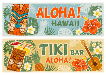 Horizontal Banners Set In Hawaiian Style