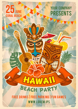 Hawaiian Beach Party Poster Template