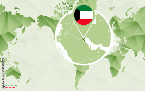 America Centric World Map With Magnified Lebanon Map Stock Image