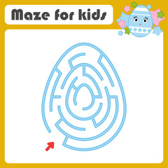 Color oval labyrinth. Kids worksheets. Activity page. Game puzzle for children. Cute egg, Easter, holiday. Maze conundrum. Vector illustration.