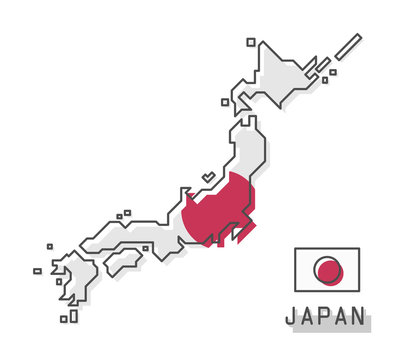 Japan map and flag . Modern simple line cartoon design . Vector .