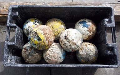 Antique Wooden Round Fishing Floats in a Box