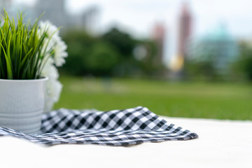 Picnic cloth black - blue square pattern on the white cloth in the park and outside field for pack or package shot.