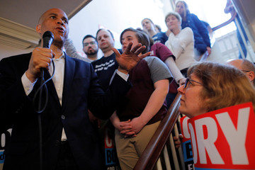 Democratic 2020 U.S. presidential candidate Cory Booker speaks during a campaign stop in Rochester