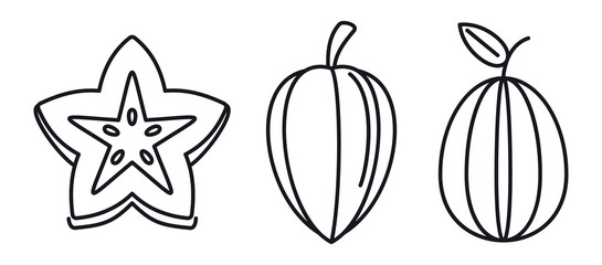 Carambola star fruit icons set. Outline set of carambola star fruit vector icons for web design isolated on white background