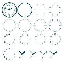 A set for designing a model of a clock.