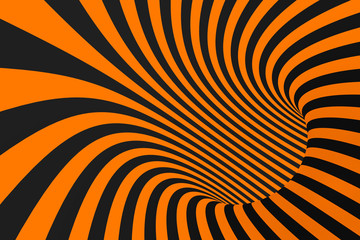 Tunnel optical 3D illusion raster illustration. Contrast lines background. Hypnotic stripes ornament. Geometric pattern.