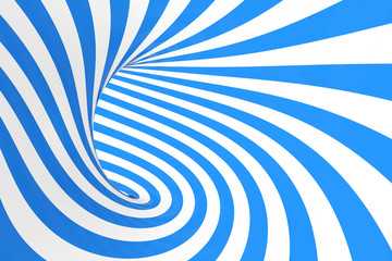 Swirl optical 3D illusion raster illustration. Contrast blue and white spiral stripes. Geometric winter torus image with lines.