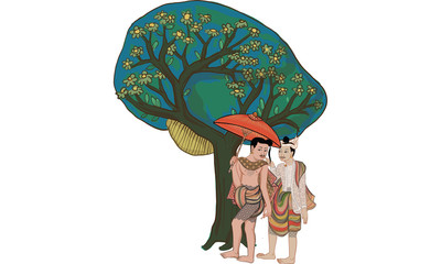 tree in Thai tradition painting,Thai tattoo, vector
