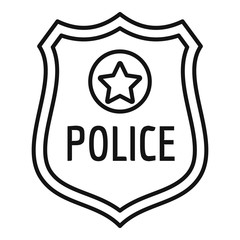 Police gold emblem icon. Outline police gold emblem vector icon for web design isolated on white background