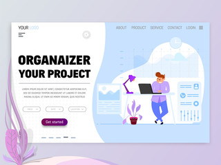 Project manager concept. flat style, on a white background