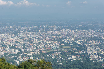 Chiang Mai city panoramic view from Doi Suthep temple in Thailand