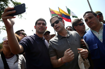 U.S. Senator Marco Rubio visits the Colombia-Venezuela border at the Simon Bolivar International Bridge on the outskirts of Cucuta