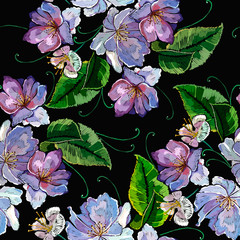 Violet flowers embroidery seamless pattern. Template for clothes, textiles, t-shirt design
