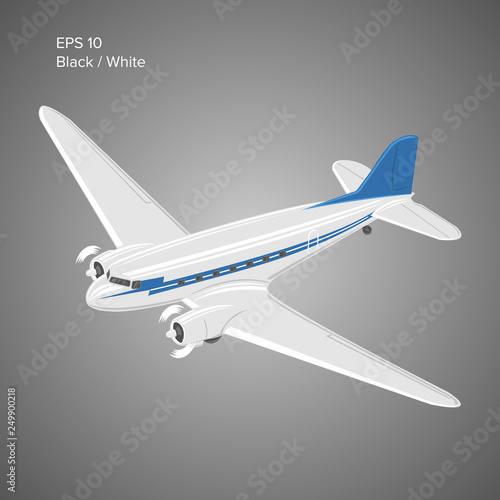 Old vintage piston engine airliner  Legendary retro aircraft vector