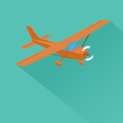 Small plane vector illustration. Single engine propelled aircraft. Air tours wehicle. Flat Design