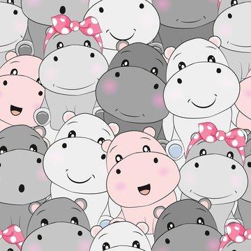 cute baby hippo seamless pattern