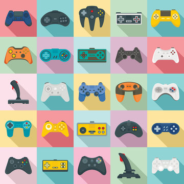 Joystick icons set. Flat set of joystick vector icons for web design