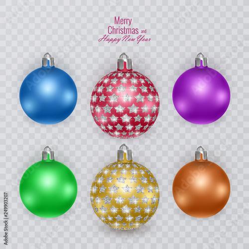 Colorful Christmas Balls.Colorful Christmas Balls On Transparent Background Vector