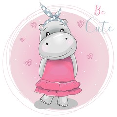 cute cartoon hippo girl on a pink background