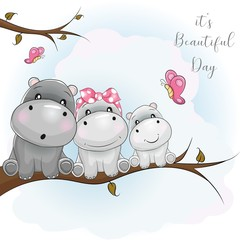 three cute hippo cartoon sitting on the branch
